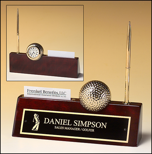 Rosewood piano finish nameplate with pen business card holder and rosewood piano finish nameplate with pen business card holder and goldtone metal golf ball clock colourmoves